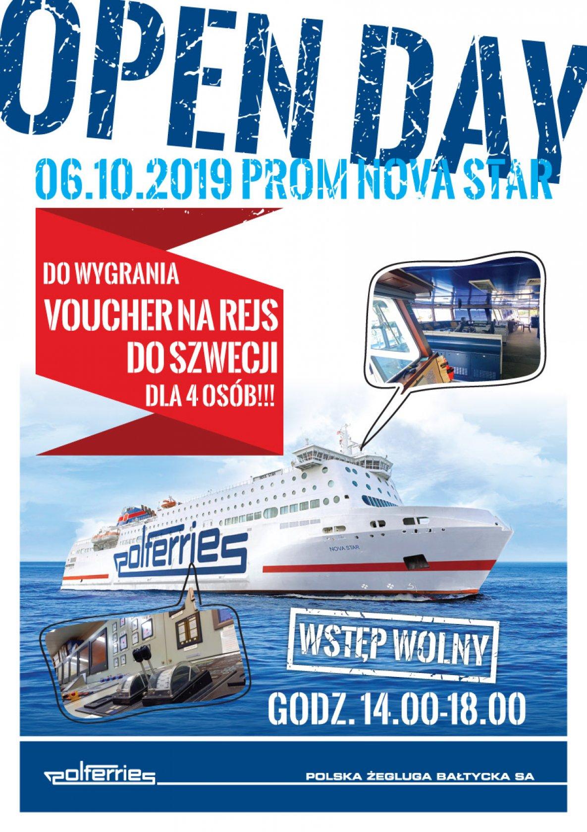 Dzień otwarty na promie NovaStar- 6.10.2019 Gdańsk- wstęp wolny